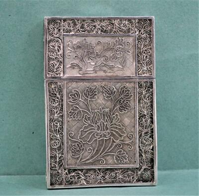 Antique 19 c Chinese Export Silver Card Case Flower Filigree decoration 45 Gr