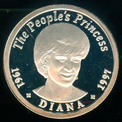 1997 Zambia Diana People's Princess Silver Proof 75 Kwacha