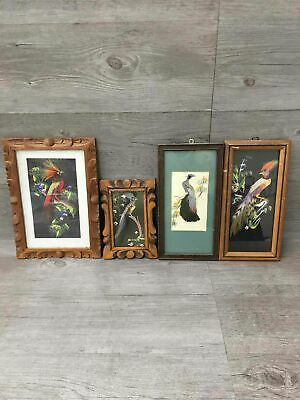 Lot Of 4 Framed Matted Mexican Feathercraft Art