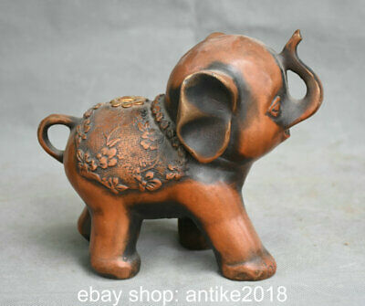 """6.4"""" Old Chinese Copper Feng Shui Auspicious Elephant Flower Sculpture"""