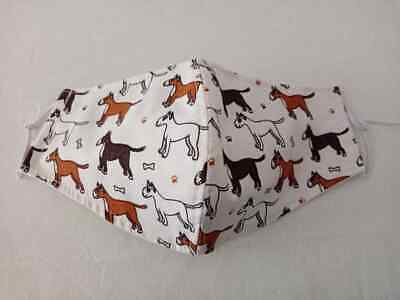 Adult hand crafted face cover, triple layer, Bull Terrier, machine washable