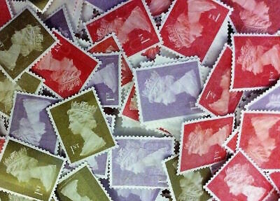 FLASH SALE (ENDING SOON) 100 first 1st Class stamps unfranked no gum off paper