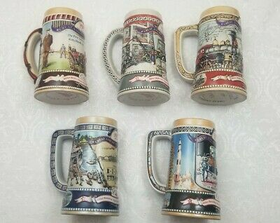 5 Collectible Miller Beer Steins Great American Achievements 1986-1990 Full Set