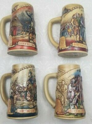 "Vintage Miller High Life ""Birth of a Nation"" Beer Steins set of 4 Collectible"