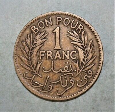 Tunisia 1 Franc 1921 Fine / Very Fine Coin