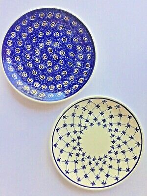 "Set of 2 HEISE Original Bunzlau GERMAN Blue White Ceramic PLATES 10.75"" ANTIQUE"