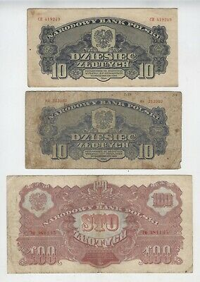 10 (2 notes) & 100 zlotych Poland 1944 [AH804]