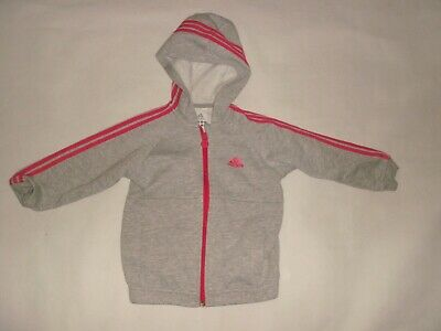 01 Adidas Girls Grey Stretch Jersey Zip Front Hoodie Hooded Jacket Age 2/3 Yrs