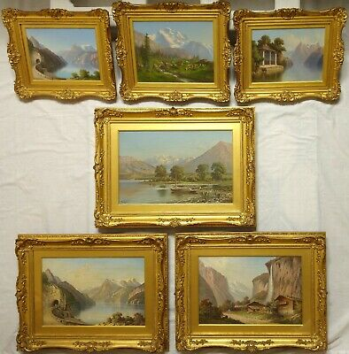 Six Signed Original Antique Swiss School Alpine Mountain Landscape Oil Painting.
