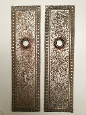 "Lot Of 2 Vintage Escutcheon Door Knob Plates- Brass  10"" X 2 3/4"""
