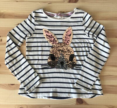 H & M Girls Sequin Rabbit Cream And Navy Blue Striped Top Age 6-8 Genuine!
