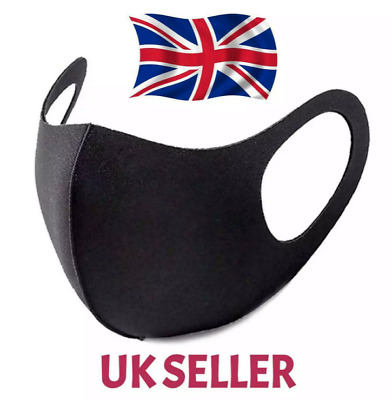 Mouth Face Mask | Reusable / Washable | Anti Virus Dust Mask Black - UK STOCK