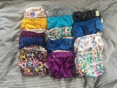 14 Clothes Diapers (Mostly Rumparooz Kanga Care Pocket One Seize with Inserts)
