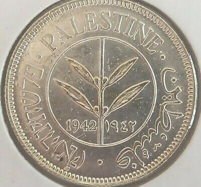 1942 Palestine 50 Mils KM# 6 silver uncirculated coin