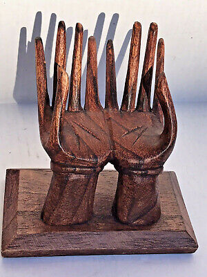 "VTG MCM Wood Carved Double Hand Arm ""Palm Reading"" Display Jewelry Holder 5"""