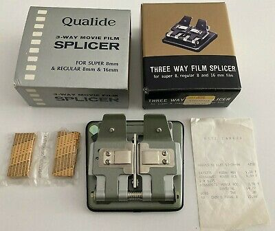 NEW Qualide 3-Way Movie film Splicer For Super 8MM and Regular 8MM & 16MM