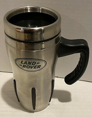 """Land Rover Stainless Steel Travel Tumbler With Black Handle 7"""" Tall"""