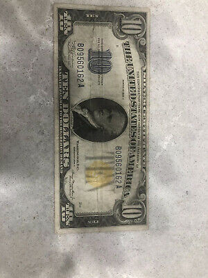 1934 A US $10 Silver Certificate Banknote Yellow Seal North Africa War Money