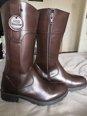Marks & Spencer M&S New Real Leather Girls Knee High Boots Brown UK 3