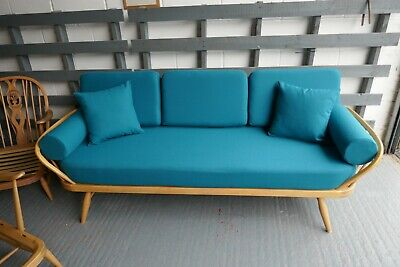 Cushions & Covers Only. Ercol Daybed. Bolsters & Scatters  Teal 100% wool
