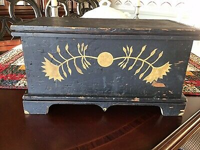 Antique Primitive Painted Document Chest 18th Century