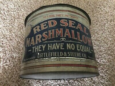 Vintage Red Seal Metal Marshmallows Can, Country Store Collectibles