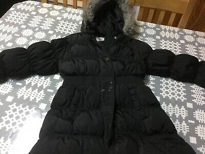 Girls stunning black winter coat age 7-8 years old - From NEXT