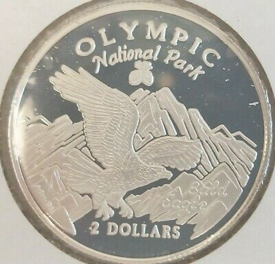 1996 Cook Islands 2 Dollars Elizabeth II Olympic National Park silver proof coin