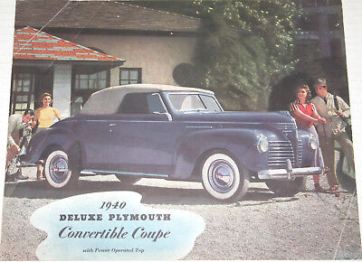 1940 PLYMOUTH DeLuxe Convertible & Station Wagon ORIGINAL sales brochure