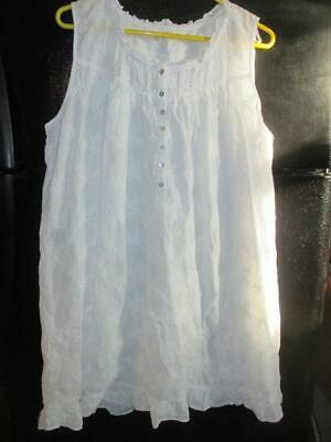 Eileen West Floral Radiance White on White Cotton Lawn Chemise Gown L