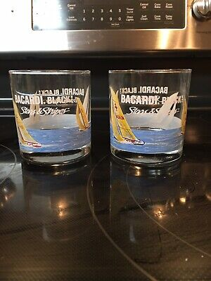 Two Bacardi Black Stars & Stripes Sailing Whiskey Glasses