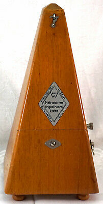 Antique Wood Case Metronome Weiss Metronomex Made in Czechoslovakia Maelzel Sys