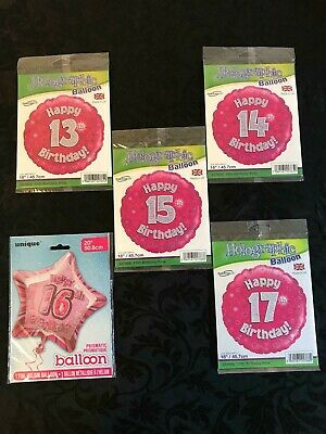 Holographic//Unique branded 13th-17th Birthday foil balloons pink
