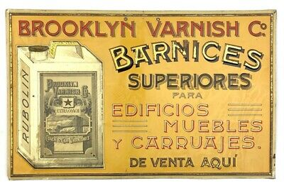 Vintage Early 1900s BROOKLYN VARNISH Co. Coach Embossed Tin Advertising Sign (D)