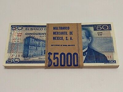 1981 Mexico Lot (100) Notes $ 50  Pesos Mexican Banknotes UNC Serie LW