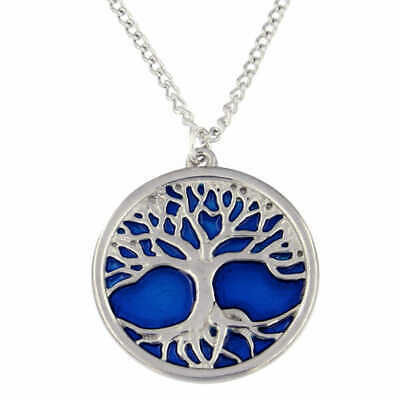 Blue Enamel Tree of Life Pendant - St Justin Pewter PN842