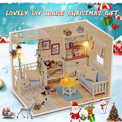 DIY Handcraft 3D Wooden Toy Miniature Kit Dollhouse LED Lights Diary Kid Gift