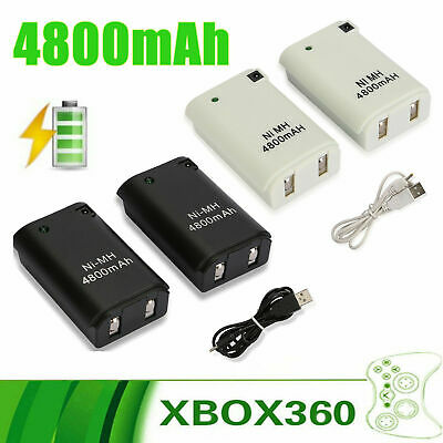 2X For Xbox 360 Wireless Controller Rechargeable Battery Pack USB Charger Cable
