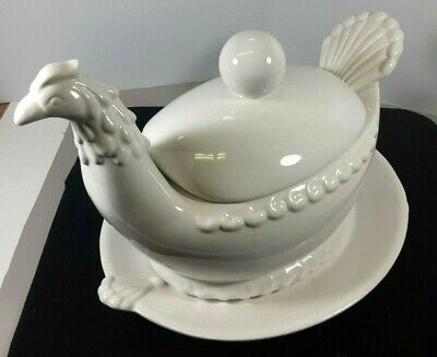 "Large Vintage Ceramic Soup Tureen ""Chicken"" Large Ladle and Underplate Beautiful"