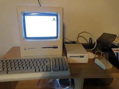 1986 Macintosh Plus One MB With Keyboard, Mouse, External Floppy Drive, Manuals
