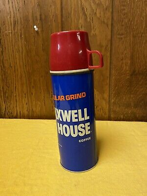 Vintage Blue Maxwell House Coffee Thermos Regular Grind Glass Insulated Thermos