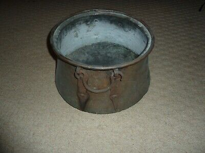 Vintage Copper Cooking Pot With Iron Studded Handles - No Lid
