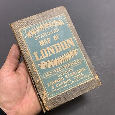 1873 Collins Standard Map Of London Linen Backed Hand Coloured Fold-Out Map