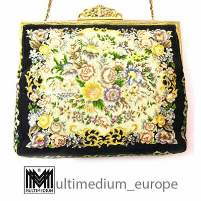 Jugendstil Hand Tasche Abendtasche Handarbeit Petit Point Stickerei needlework