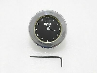 Black Dial Brass Chrome Stem Nut Clock Watch Suitable For Royal Enfield#Re241