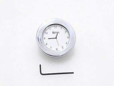 White Dial Chrome Stem Nut Clock Watch Suitable For Royal Enfield #Re239