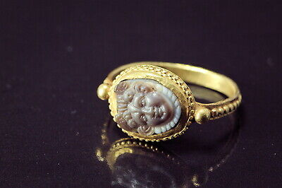 ANTIQUE EARLY MEDIEVAL BYZANTINE 6th CENTURY GOLD HARDSTONE MEDUSA CAMEO RING