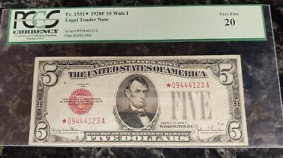 1928 Circulated Five Dollar $5 Red Seal Star Note
