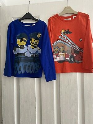 H & M Boys Long Sleeved T-Shirt Top Bundle - Lego City - Age 6 Years