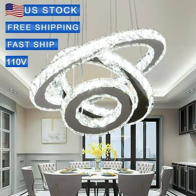 Adjustable 3_colors LED Chandelier Crystal Pendant Lamp Round Ceiling Light Ring